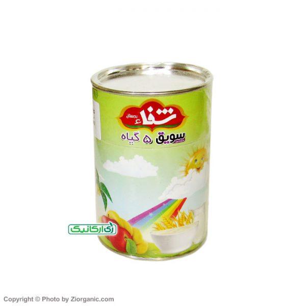 سویق 5 گیاه با میوه خشک سیب و موز ارگانیک شفا بجستان 170 گرمی زی ارگانیک