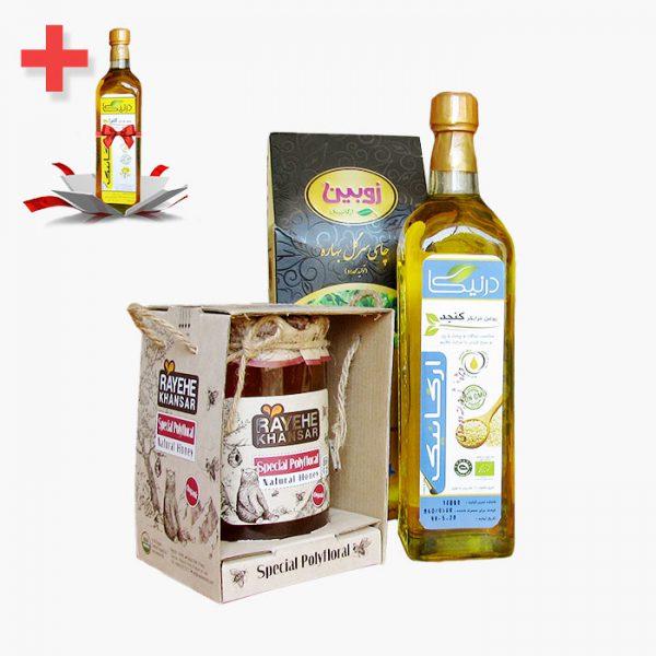 پکیج محصولات پرمصرف - روغن، چای و عسل ارگانیک به همراه هدیه - زی ارگانیک