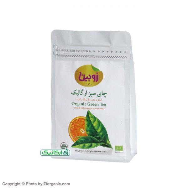چای سبز ارگانیک با تکه های پرتغال - زی ارگانیک